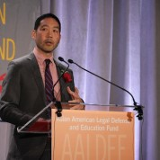 Andrew Hsiao, senior editor at Verso Books, introduced Jessica Hagedorn as one of the nation's great writers at the Asian American Legal Defense and Education Fund's lunar new year gala at Pier Sixty at Chelsea Piers in New York on February 23, 2015. Photo by Lia Chang