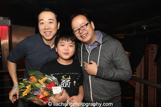 Bobby Kwak, The Circle NYC club owner and host with #FreshOffTheBoat star Hudson Yang and his dad Jeff Yang at the #FreshOffTheBoat Viewing Party at The Circle NYC on February 4, 2015. Photo by Lia Chang