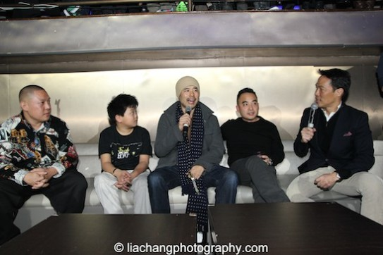 Eddie Huang, Hudson Yang, Randall Park, Melvin Mar and Richard Lui during the talkback at the #FreshOffTheBoat Viewing Party at The Circle NYC on February 4, 2015. Photo by Lia Chang