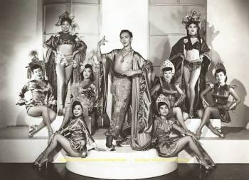 "Andy Wong's Chinese Vanities, 1954. Front row (l-r): Julianne Lew and Mae Lacsaman. Middle row: Hana Abe, Sheryl Lee, Jackie Mei Ling, Jeannie Chang, and Pat Chin. Back row: Lily Pon and Dinky Lee. Pat Chin will be one of the guest perfomers at the ""Forbidden City, USA"" World Premiere celebration."