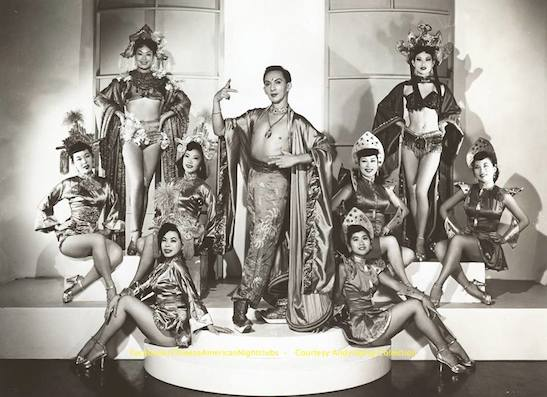 """Andy Wong's Chinese Vanities, 1954. Front row (l-r): Julianne Lew and Mae Lacsaman. Middle row: Hana Abe, Sheryl Lee, Jackie Mei Ling, Jeannie Chang, and Pat Chin. Back row: Lily Pon and Dinky Lee. Pat Chin will be one of the guest perfomers at the """"Forbidden City, USA"""" World Premiere celebration."""