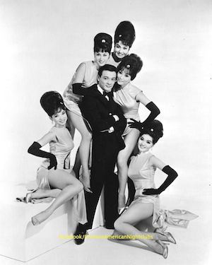 "Come see Jimmy Borges sing live and in person at the ""Forbidden City, USA World Premiere Celebration."" He's here with the Oriental Playgirls when he performed as Jimmy Jay at the Chinatown nightclubs of San Francisco during the 1960s. Also pictured are (l-r): Jennifer Pang, Arlene Wing, Kato Tani, Sisko Borges, and Cynthia Fong Yee. Cynthia will be performing too as part of the Grant Ave Follies."