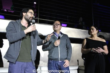 Greg Pak, Jeff Yang and Erin Quill during the talkback at The #FreshOffTheBoat Viewing Party at The Circle NYC on February 4, 2015. Photo by Lia Chang