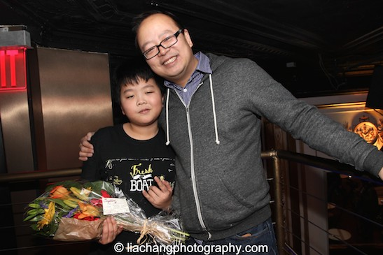 #FreshOffTheBoat star Hudson Yang with his father Jeff Yang  at the #FreshOffTheBoat Viewing Party at The Circle NYC on February 4, 2015. Photo by Lia Chang