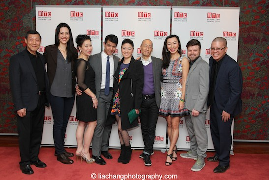 Opening night with The World of Extreme Happiness - actor James Saito, playwright Frances Ya-Chu Cowhig, cast members Sue Jin Song, Telly Leung, Jennifer Lim, Francis Jue, and actress Jo Mei, sound designer Mikhail Fiksel, and director Eric Ting. Photo by Lia Chang
