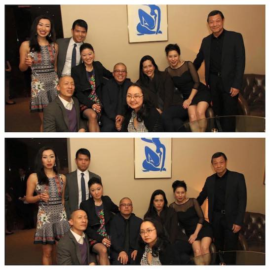 Extreme Happiness Photo vs Asian Family Photo: The World of Extreme Happiness cast members Jo Mei, Telly Leung, Francis Jue, director Eric Ting, production stage manager Winnie Lok, playwright Frances Ya-Chu Cowhig, cast members Sue Jin Song and James Saito. Photo by Lia Chang