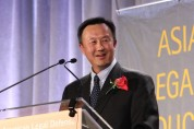 2015 Justice in Action Award honoree John W. Kuo, Senior Vice President and General Counsel of Varian Medical Systems, at the Asian American Legal Defense and Education Fund's lunar new year gala at Pier Sixty at Chelsea Piers in New York on February 23, 2015. Photo by Lia Chang