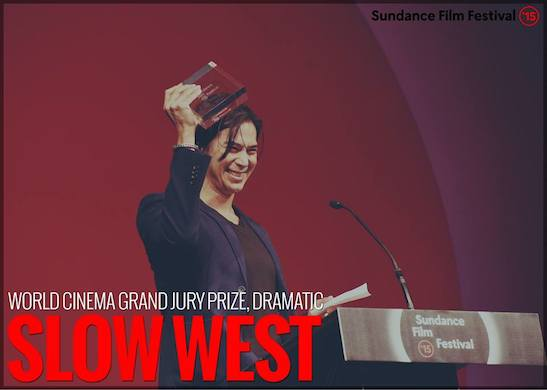 Kalani Queypo of 'Slow West' accepts the World Cinema Grand Jury Prize, Dramatic on behalf of Director John Maclean onstage at the Awards Night Ceremony during the 2015 Sundance Film Festival. Photo courtesy of Sundance Film Festival