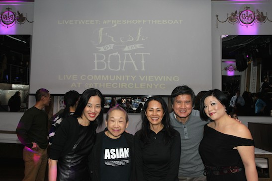 Lia Chang, Orange is the New Black's Lori Tan Chinn, Karen Lee, Phil Nee and Erin Quill at the #FreshOffTheBoat Viewing Party at The Circle NYC on February 4, 2015. Photo by GK