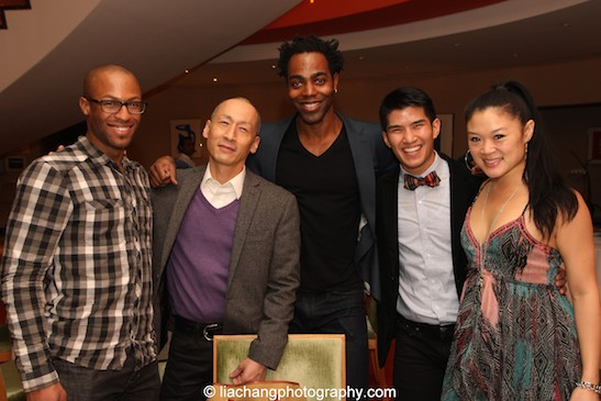A Kung Fu reunion: Big Love's Emmanuel Manny Brown, Francis Jue, Clifton Duncan, The King and I's Christopher Vo and Kristen Faith Oei. (not pictured: Cole Horibe and Bradley Fong) Photo by Lia Chang