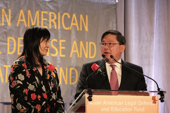 AALDEF executive director Margaret Fung and board president Tommy Shi at the Asian American Legal Defense and Education Fund's lunar new year gala at Pier Sixty at Chelsea Piers in New York on February 23, 2015. Photo by Lia Chang