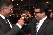 2015 Justice in Action honoree Neal Katyal and presenter Debo Adegbile at the Asian American Legal Defense and Education Fund's lunar new year gala at Pier Sixty at Chelsea Piers in New York on February 23, 2015. Photo by Lia Chang