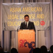 2015 Justice in Action Award honoree Neal Katyal, partner at Hogan Lovells, Paul Saunders Professor at Georgetown University, and former Acting Solicitor General of the United States at the Asian American Legal Defense and Education Fund's lunar new year gala at Pier Sixty at Chelsea Piers in New York on February 23, 2015. Photo by Lia Chang