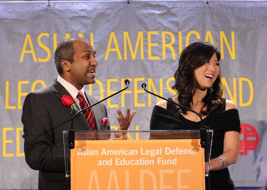 Juju Chang, Emmy Award-winning co-anchor of ABC News' Nightline, and Sree Sreenivasan, chief digital officer of the Metropolitan Museum of Art, were the co-emcees at the Asian American Legal Defense and Education Fund's lunar new year gala at Pier Sixty at Chelsea Piers in New York on February 23, 2015. Photo by Lia Chang