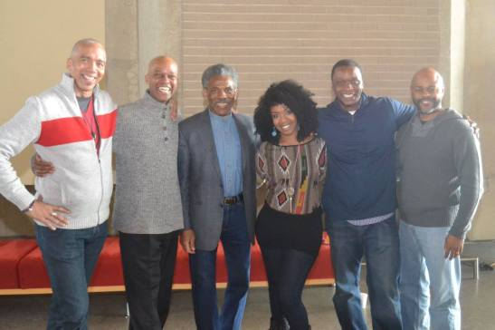 King Hedley II director Timothy Douglas, Michael Anthony Williams, André De Shields, Jessica Frances Dukes, Bowman Wright and KenYatta Rogers. Photo courtesy of Arena Stage