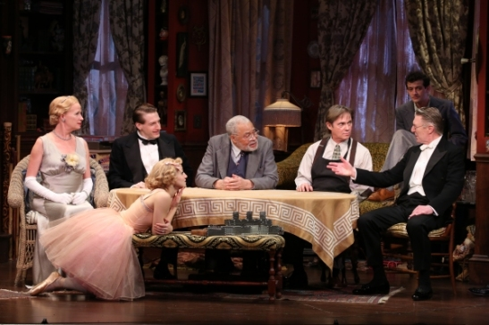 Johanna Day, Fran Kranz, Annaleigh Ashford, James Earl Jones, Richard Thomas, Will Brill and Byron Jennings. Photo by Joan Marcus