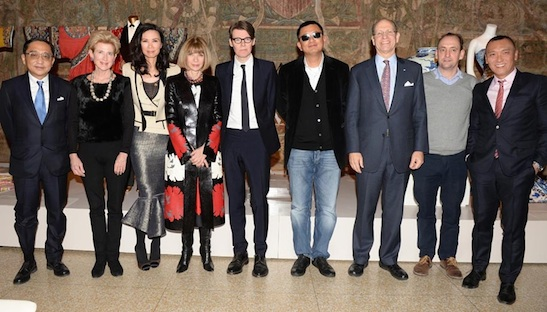From left: Silas Chou, Emily K. Rafferty, Wendi Murdoch, Anna Wintour, Andrew Bolton, Wong Kar Wai, Maxwell K. Hearn, Nathan Crowley, Joe Zee. Photographs courtesy of The Metropolitan Museum of Art/BFAnyc.com/Joe Schildhorn
