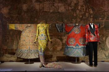 Festival robe, Yves Saint Laurent by Tom Ford evening dress, woman's court robe, and Ralph Lauren ensemble. Photograph courtesy of The Metropolitan Museum of Art/BFAnyc.com/Joe Schildhorn