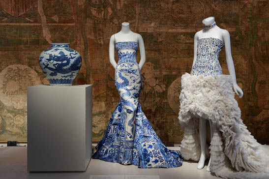 Jar with dragon, Roberto Cavalli evening dress, and Alexander McQueen by Sarah Burton evening dress. Photograph courtesy of The Metropolitan Museum of Art/BFAnyc.com/Joe Schildhorn