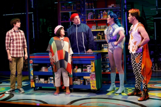 Matt Doyle, Ann Harada, Tom Alan Robbins, Grace McLean, and Andrew Call in Vineyard Theatre's Brooklynite. (© Carol Rosegg)