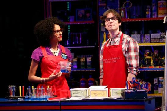 Nicolette Robinson as Astrolass and Matt Doyle as Trey Swieskowski. Photo by Carol Rosegg