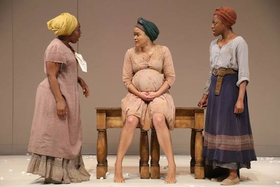 Maechi Aharanwa, Danielle Davenport, and Pascale Armand in Theatre for a New Audience's production of Soho Rep.'s AN OCTOROON by Branden Jacobs-Jenkins, directed by Sarah Benson. Photo by Gerry Goodstein