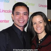 Jose Llana and his musical director Kimberly Grigsby at the Lincoln Center American Songbook afterparty at Tavern on the Green in New York on March 12, 2015. Photo by Lia Chang