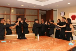 Jose Llana and company toast to the success of the concert backstage at the Stanley H. Kaplan Penthouse in New York on March 12, 2015. Photo by Lia Chang
