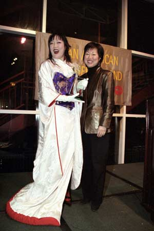 Comedienne Margaret Cho shares a laugh with People Magazine's executive editor Jeannie Park. Photo Credit: Lia Chang