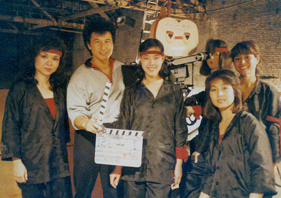 Wing Kong guards Shinko Isobe, James Lew, Lia Chang, Dian Tanaka and Donna Noguchi on the set of Big Trouble in Little China in 1985.