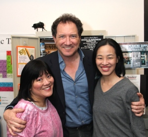 Ann Harada, Kevin McCollum and Lia Chang  after a performance of Brooklynite at The Vineyard Theatre in New York on Mar 5, 2015. Photo byGK