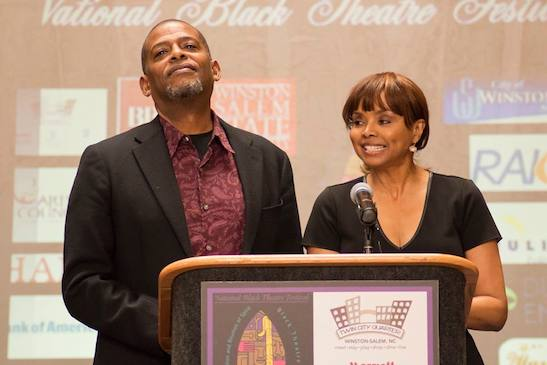 Newly minted 2015 National Black Theatre Festival co-chairs Darnell Williams and Debbi Morgan during a press conference in Winston-Salem, NC, on March 9, 2015. Photo courtesy of the National Black Theatre Festival