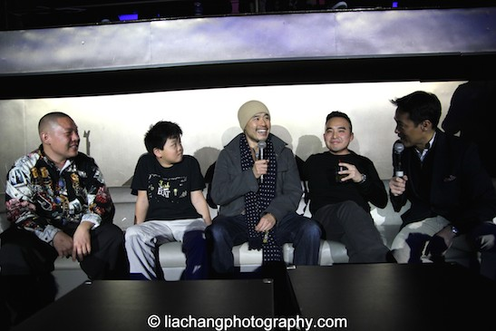 Eddie Huang, Hudson Yang, Melvin Mar and MSNBC anchor Richard Lui during the talkback at the #FreshOffTheBoat Viewing Party at The Circle NYC on February 4, 2015. Photo by Lia Chang