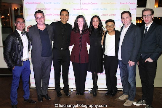 Enrico Rodriguez, Adam Guettel, Jose Llana, Kimberly Grigsby, Jaygee Macapugay, Jeigh Madjus, Matt Stine, Cody Owen Stine at the afterparty at Tavern on the Green in New York on March 12, 2015. Photo by Lia Chang