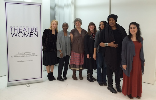 "Playwrights Fengar Gael, Lee Hunkins, Maxine Kern, Caridad Svich, Kara Lee Cothron, Dael Orlandersmith, Jenny Lee Bader at the League of Professiona Theatre Women's Roundtable Discussion: ""Writing Plays By, For or About Women"" at TheaterLab in New York on March 23, 2015. Photo by Lia Chang"