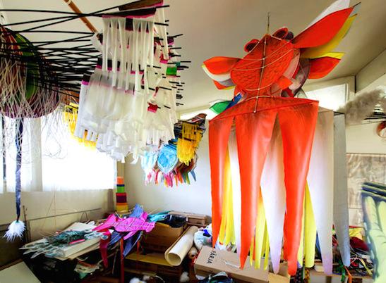 Goldfish kites in Tyrus Wong's studio. Photograph and Copyright Sara Jane Boyers
