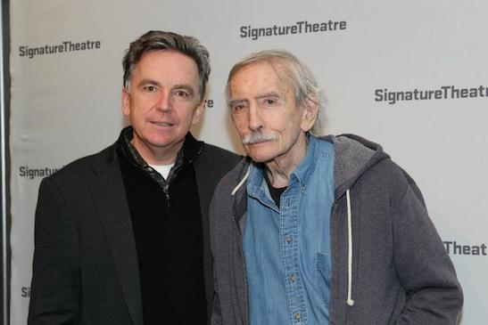 James Houghton and Edward Albee at the opening party for David Henry Hwang's Golden Child at The Pershing Square Signature Center on November 13, 2012. Photo by Lia Chang