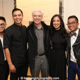 Jeigh Madjus, Jose Llana, David Byrne, Jaygee Macapugay, Enrico Rodriguez. Photo by Lia Chang