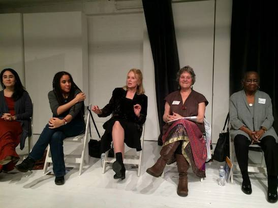 Jenny Lyn Bader, Kara Lee Corthron, Fengar Gael, Maxine Kern and Lee Hunkins. Photo by Lia Chang