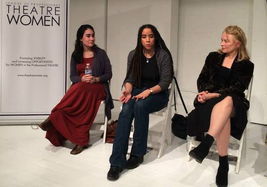 Playwrights Jenny Lyn Bader, Kara Lee Corthron and Fengar Gael. Photo by Lia Chang