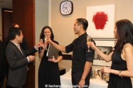 Jon Nakagawa, Lincoln Center's Director of Contemporary Programming, Kimberly Grigsby, Jose Llana, Jaygee Macapugay toast to the success of the concert backstage at the Stanley H. Kaplan Penthouse in New York on March 12, 2015. Photo by Lia Chang