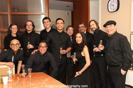 Kimberly Grigsby, Pete Donovan, Simon Kafka, Jose Llana, Jon Nakagawa, Lincoln Center's Director of Contemporary Programming Charles Cermele, Producer of Contemporary Programming, Kevin Garcia, Jack Bashkow, Jeigh Madjus, Enrico Rodriguez, Jaygee Macapugay toast to the success of the concert backstage at the Stanley H. Kaplan Penthouse in New York on March 12, 2015. Photo by Lia Chang
