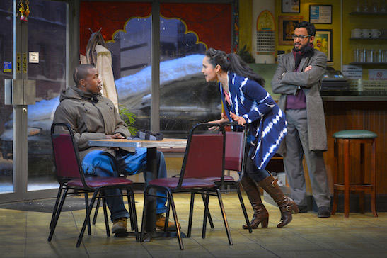 Bernard (Jason Bowen) argues with Priya (Nilanjana Bose) and Vijay (Adam Poss) in Rajiv Joseph's new play The Lake Effect presented by TheatreWorks Silicon Valley at the Lucie Stern Theatre in Palo Alto through March 29. Photo credit: Kevin Berne