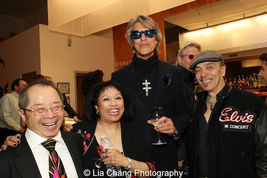 Larry Lee, Baayork Lee, Tommy Tune and Raul Aranas after a performance of NAAP's Hello Dolly! at The Pershing Square Signature Center on April 30, 2013. Photo by Lia Chang