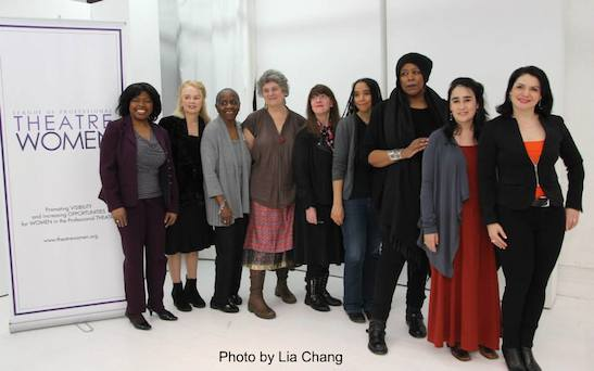 (Pictured Left to right: LPTW Board Member/LPTW Networking Committee Co-Chair/ Actress/Playwright Richarda Abrams, Playwright Fengar Gael, Playwright Lee Hunkins, LPTW Co-President/Dramaturg/Playwright/Moderator Maxine Kern, Playwright Caridad Svich, Playwright Kara Lee Corthron, Playwright/Performer Dael Orlandersmith, Playwright Jenny Lyn Bader, LPTW Board Member/LPTW Networking Committee Co-Chair/Actress/Playwright Romy Nordlinger). Photo by Lia Chang