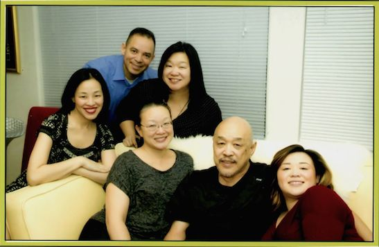 Russell Chang is flanked by his daughters, Lia Chang, Marissa Chang-Flores, Tami Chang, granddaughter Asia Flores and son-in-law Carlos Flores.