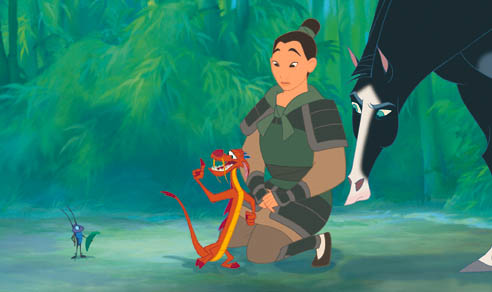 Cri-Kee; Mushu; Fa Mulan; Kahn in Disney's 1998 animated film Mulan. Photo courtesy of The Disney Wiki