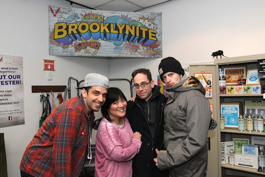 Nick Cordero, Ann Harada, Garth Kravits and Andrew Call after a performance of Brooklynite at The Vineyard Theatre in New York on Mar 5, 2015. Photo by Lia Chang