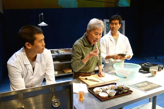 "From left, Lawrence Kao (Nobu), Sab Shimono (Koji), Ryun Yu (Takashi) appear in a scene from ""tokyo fish story"" at South Coast Repertory. BEN HORAK, SOUTH COAST REPERTORY"