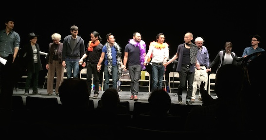 Curtain call of PAPER DOLLS  cast at The Acorn Theatre in New York on March 9, 2015. Photo by Lia Chang